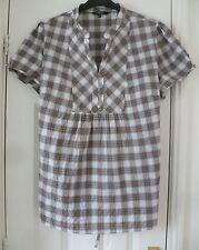 Casual Collection DEBENHAMS Brown White Check Smock Shirt Tunic Top - Size 22