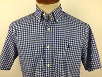 Ralph Lauren Mens Medium Blue White Check Short Sleeve Button Front Shirt