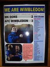 MK Dons 2 AFC Wimbledon 3 - 2014 - framed print