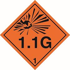 """Health and safety Hazard sticker Explosive 1.1G sticker 5"""" orange"""