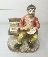 Vintage Artmark Artist Hobo Painting On Bench Portugal Ceramic Porcelain