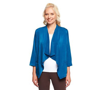 Linea By Louis Dell'Olio 3/4 Sleeve Drape Front Jacket Size XS Ocean Blue Color