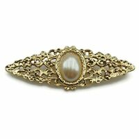 Vintage Gold Tone Openwork Faux Pearl Fashion Bar Brooch Scarf Lapel Pin
