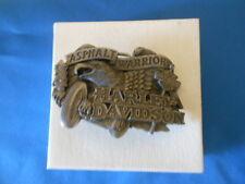 """Vintage Harley Davidson """"Asphalt Warrior""""  Belt Buckle 1992 Baron H416"""
