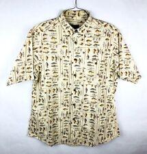 Woolrich Button Front Shirt Mens Size Large L Beige Fish Short Sleeve