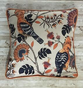 Exotic Bird Cushion, Orange Velvet, Velvet Cushion
