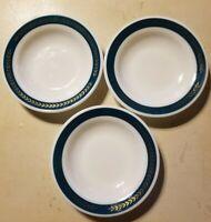 "3 VTG CORNING WARE PYREX Milk Glass Green band w/gold wheat  9"" SOUP/SALAD BOWL"