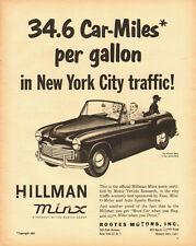 1953 vintage automobile ad, Hillman Minx convertable, 34.6 mpg! -060113