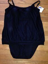 Croft & Barrow Fit For You Body Sculptor One-Piece BLOUSANT Swimsuit BLACK SZ 16