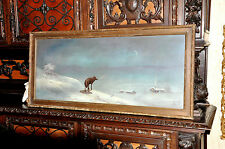 Antique  Americana  Wolf  in Winterscape oil Painting