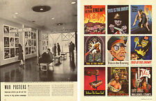 1942 WW2 article, WAR POSTERS at MOMA, 200 on display, Father's Day Gifts 052214