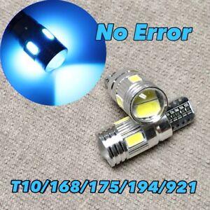 Parking Light T10 6 SMD LED Wedge BULB 194 175 2825 168 12961 W5W Ice Blue W1 E