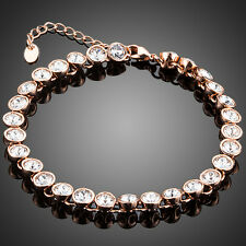 Sparkly Shiny Clear White Austria Crystal Round Rose Gold Plated Tennis Bracelet