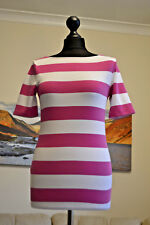 Ralph Lauren Womens Top Ailis Elbow Sleeve Knit Pink White Stripe Sz Small