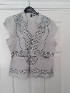 Linen shift top Embroidered Button detail size XL
