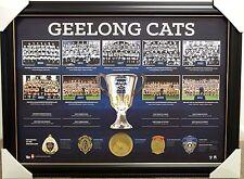 GEELONG CATS HISTORIC PREMIERSHIP HISTORY PRINT FRAMED - AFL PREMIERS - BROWNLOW