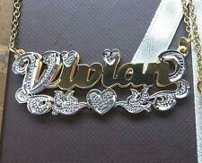 Mothers Day special Name Double Plate Silver Personalized Any Name Necklace USA