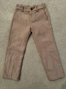 Janie and Jack boys Wool dress pants size 5 tan With Adjustable Waist Lined