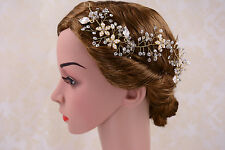 Crystal Hair Vine Pearls Bridal Headpiece Gold Headdress Wedding Accessories 1 P