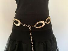 Vintage 1980s Flower Power Hippy 46 Inch Plated Steel Large Oval Ring Chain Belt