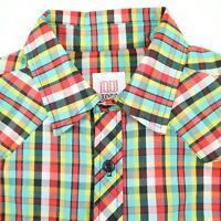 Topo Designs Western Shirt Mens size SMALL Lightweight Vivid Plaid USA Made NWOT