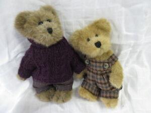 "Vintage Boyd's Bear Lot #11: 2 Fall Bears in Plaid, 8"" & 9"", 1985-2000, Ex!"