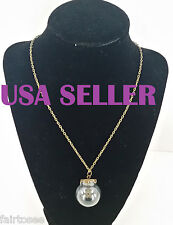 EMPTY Glass Bottle Bubble/Vial Charm Pendant with Vtg Bronze Chain Necklace DIY