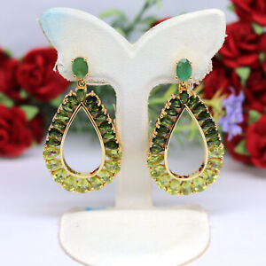 NATURAL GREEN CHROME DIOPSIDE, GREEN PERIDOT WITH EMERALD EARRINGS 925 SILVER