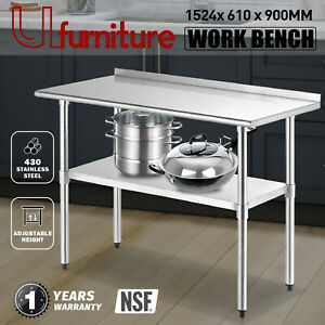 Stainless Steel 1524x610mm Commercial Kitchen Bench Food Prep Table w/Backsplash