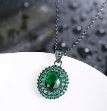 14k Black Gold Over Green Emerald Pendant Necklace Made with Swarovski Crystals