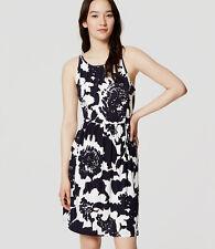 Ann Taylor Loft Monochrome Floral Dress Navy White LP NWT