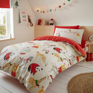 Catherine Lansfield Christmas Jungle Bells Easy Care Duvet Cover Set, Natural