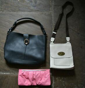 3 Bundle Hand Tote Cross Shoulder Messenger Clutch Handbag Bags Beige Pink Black