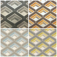 Retro Glitter Wallpaper 3D Geometric Vintage Bold Metallic Orange Yellow Blue