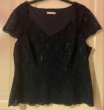 Beautiful Jacques Vert Blue Sequinned Top Size XL (approx 18/20)