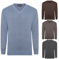 Mens Wool V neck Jumper Pullover Knitted Sweater Long Sleeve Slipover Casual Top
