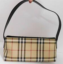 Burberry Nova Check Plaid Canvas Leather Tote Bag