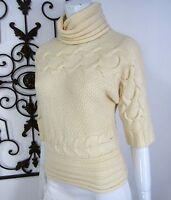 Antonio Melani 100% Wool Short Sleeve Turtleneck Sweater XS Extra Small Ivory