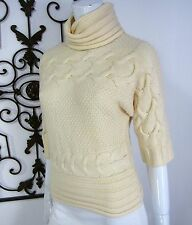 1ca1338cff Antonio Melani 100% Wool Short Sleeve Turtleneck Sweater XS Extra Small  Ivory