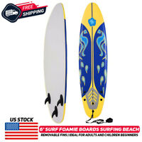 6' Surfboard Longboard Board Surfing Water Sport Foam W/ Removable Fin Yellow