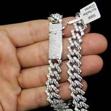 14K White Gold Plated Mens Micro Pave CZ Choker 12MM Iced Chain Necklace 18""