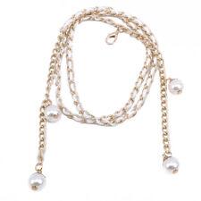 Metal Chain Belt Pearl Beads Ladies Waist Charm For Bridal Dress Decoration LA