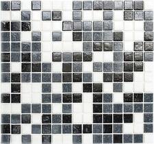 Mosaik Fliese Glas weiß grau schwarz Bad Wand Küche 52-0302 | 10 Mosaikplatten