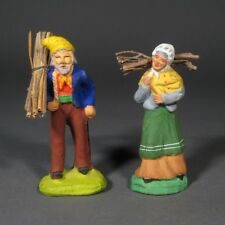 Vintage French Terracotta Santons Provence, Peasant Couple, Bundles of Sticks