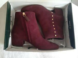 Lauren Ralph Lauren Wharton Bordeaux Wine Studded Suede Ankle Boot Size 7.5