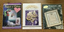 3 Silk Ribbon Embroidery Pattern Booklets Miniatures Accents Bouquets Crafts