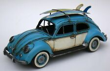 1934 BLUE AND WHITE BEETLE CLASSIC MODEL 1:12-SCALE MODEL CAR HOME DECOR