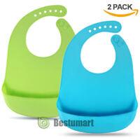 Adjustable Newborn Baby Silicone Bibs [Set of 2 ] Food Catcher Pocket Waterproof