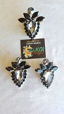 drag queen jewelry earrings ring large clip dance buttons black Diamond jet