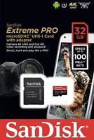 Sandisk A1 32GB Extreme PRO micro SD HC Card + Adapter 100MB/s V30 UHS-I U3